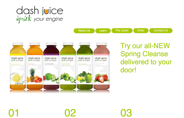 screenshot of the top half of Dash Juice Mockup Homepage